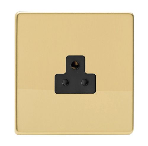 Varilight XDVRP2ABS Screwless Polished Brass 1 Gang 2A Round Pin Plug Socket